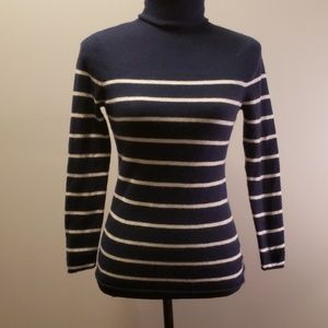 Halogen Wool and Cashmere Striped Turtleneck M